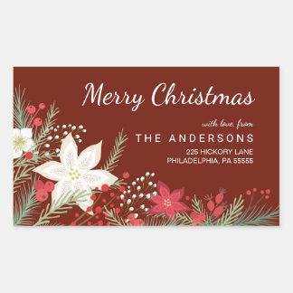 メリークリスマスのポインセチア及びマツ差出人住所 長方形シール