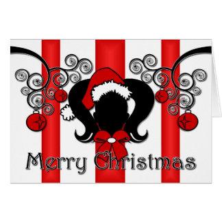 メリークリスマスのポニーテール グリーティングカード
