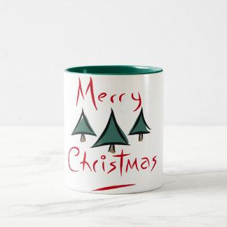メリークリスマスのマグ-クリスマスツリー ツートーンマグカップ
