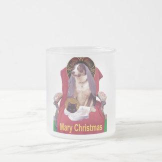 メリークリスマスのマグ、愛らしい小型出生場面 フロストグラスマグカップ
