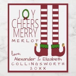 メリークリスマスのメルローのワインのラベルは個人化なります ワインラベル
