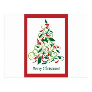 メリークリスマスのモダンなクリスマスツリーのデザイン ポストカード