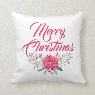 メリークリスマスのモダンなタイポグラフィ及び花 クッション