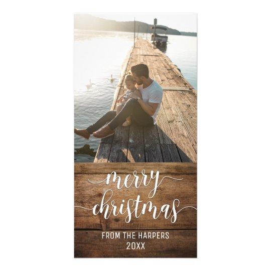 メリークリスマスのモダンな原稿及びブラウンの素朴な木 カード