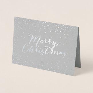 メリークリスマスのモダンな銀ぱくの紙吹雪の点 箔カード