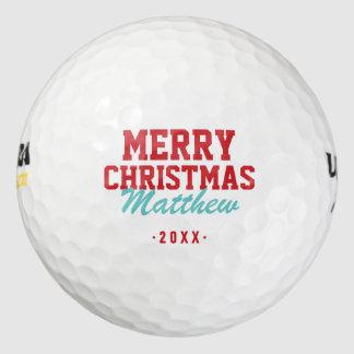 メリークリスマスのモノグラムのゴルフ・ボール ゴルフボール
