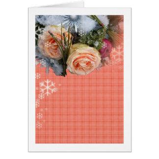 メリークリスマスのモモのバラの格子縞 カード