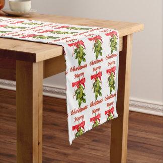 メリークリスマスのヤドリギ ショートテーブルランナー