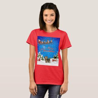 メリークリスマスのヨークシャーテリア Tシャツ