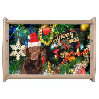 メリークリスマスのラブラドル・レトリーバー犬犬のサンタの帽子 トレー