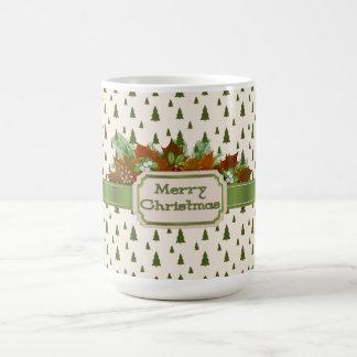 メリークリスマスのリボンが付いている松の木 コーヒーマグカップ
