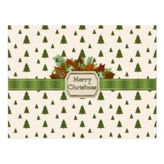 メリークリスマスのリボンが付いている松の木 ポストカード