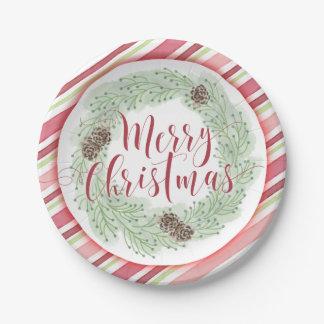 メリークリスマスのリースの紙皿 ペーパープレート