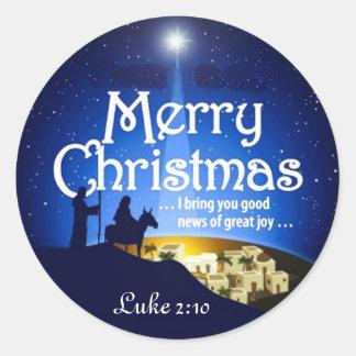 メリークリスマスのルークの2:10のすばらしい喜びのイエス・キリストのステッカー ラウンドシール