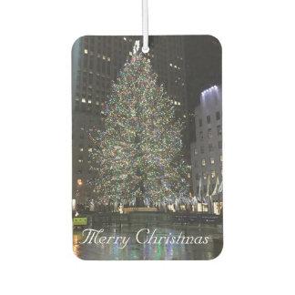 メリークリスマスのロックフェラー中心NYCのクリスマスの木 カーエアーフレッシュナー