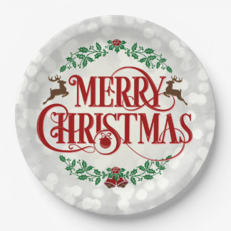 メリークリスマスのヴィンテージのリースの銀のパーティのプレート 紙皿 大