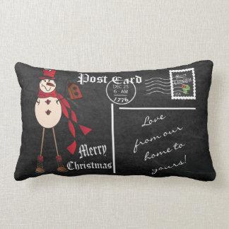 メリークリスマスのヴィンテージの黒板の赤の雪だるま ランバークッション