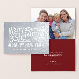 メリークリスマスのヴィンテージの黒板の銀ぱく 箔カード