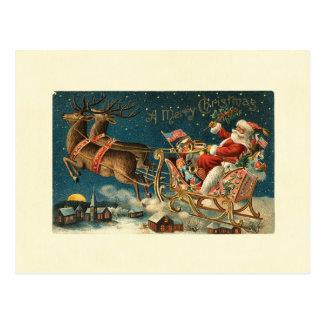 メリークリスマスのヴィンテージサンタ ポストカード