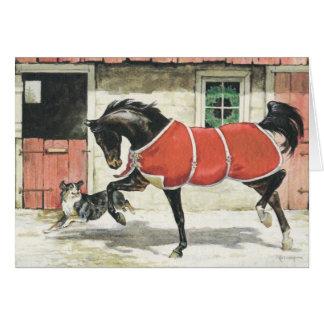 メリークリスマスのヴィンテージ馬および犬 カード