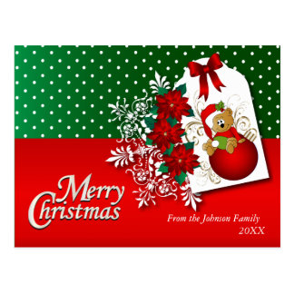 メリークリスマスの休日のテディー・ベア ポストカード