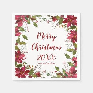 メリークリスマスの休日のナプキンのポインセチア スタンダードカクテルナプキン