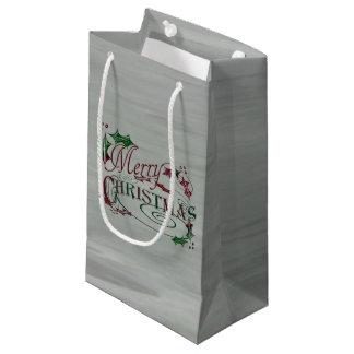 メリークリスマスの休日のヒイラギ スモールペーパーバッグ