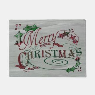 メリークリスマスの休日のヒイラギ ドアマット