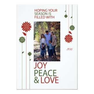 メリークリスマスの休日の花 12.7 X 17.8 インビテーションカード