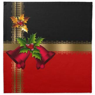 メリークリスマスの休日の赤い鐘の黒い金ゴールド ナプキンクロス