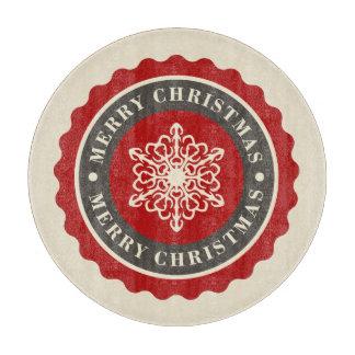 メリークリスマスの休日の雪片 カッティングボード