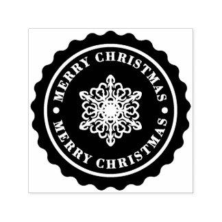 メリークリスマスの休日の雪片 セルフインキングスタンプ