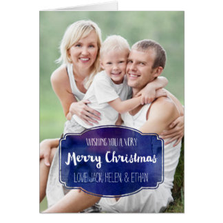 メリークリスマスの写真カード濃紺の水彩画 カード