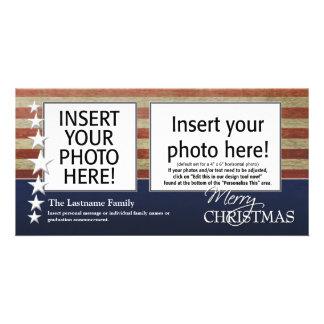 メリークリスマスの写真カード-愛国心が強い軍隊 カード