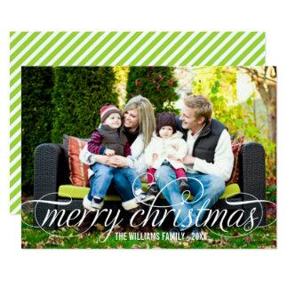 メリークリスマスの写真カード|白い原稿の上敷 12.7 X 17.8 インビテーションカード