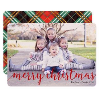 メリークリスマスの写真カード、赤い格子縞の休日カード カード