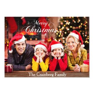 メリークリスマスの写真カード 12.7 X 17.8 インビテーションカード