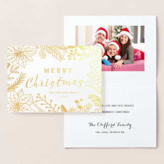 メリークリスマスの冬の群葉フレーム%PIPE%の金ゴールド 箔カード