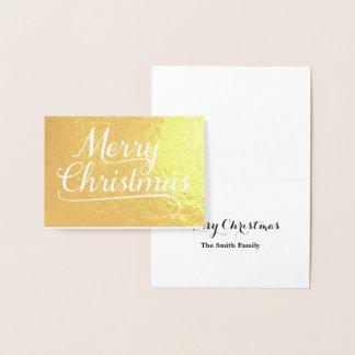 メリークリスマスの単語の芸術の金ゴールド 箔カード