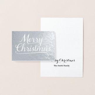 メリークリスマスの単語の芸術の銀 箔カード
