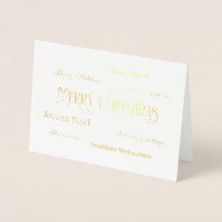 メリークリスマスの単語の雲ホイルの挨拶状 箔カード