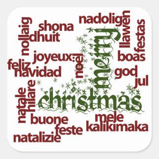 メリークリスマスの単語の雲 スクエアシール