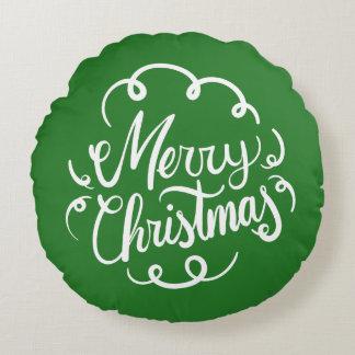 メリークリスマスの原稿のタイポグラフィの緑の赤 ラウンドクッション