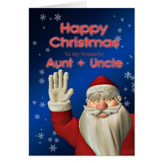 メリークリスマスの叔母さん及び叔父さんのサンタの振ること カード