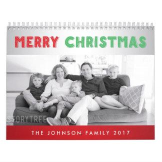 メリークリスマスの名前入りな写真は2017年をカレンダーに記録します カレンダー