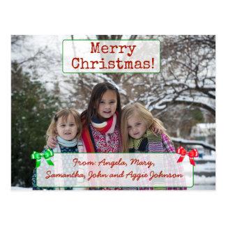 メリークリスマスの名前入りな家族写真の郵便はがき ポストカード