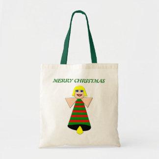 メリークリスマスの天使の鐘のカスタムのギフトバッグ トートバッグ