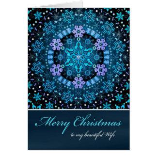 メリークリスマスの妻、Bohoの青い雪片 カード