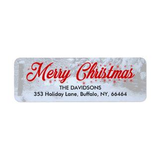 メリークリスマスの差出人住所ラベル-雪 ラベル