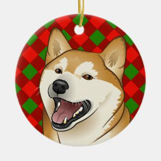 メリークリスマスの幸せで赤い柴犬のオーナメント セラミックオーナメント